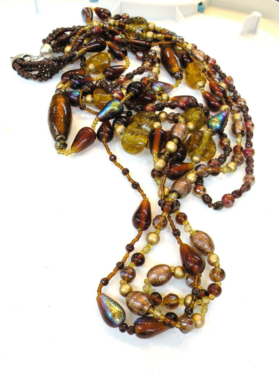 Vintage Venetian Brown Toned Multi Strand Bead Necklace