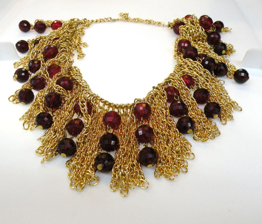 Cranberry Bead and Fringe Disco Bib Necklace