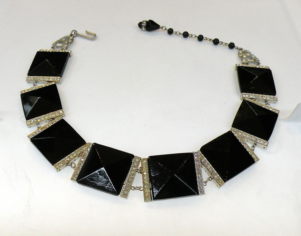 Dramatic Point Up Square Black Glass and Rhinestone Choker Necklace
