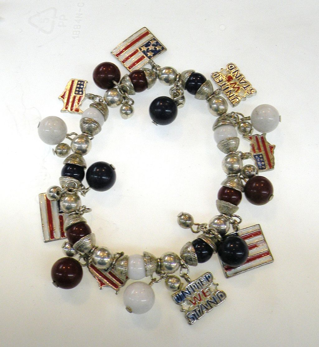 Silver and Bead Stretchy Red White and Blue Flag Charm Bracelet