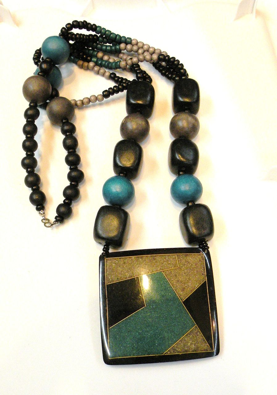 Teal Black and Taupe Beaded and Resin Pendant Necklace