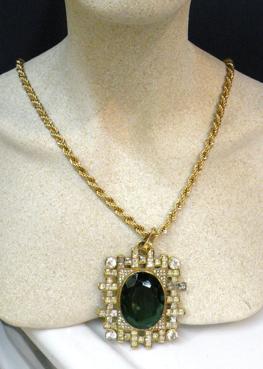 Oversized Open Back Emerald Colored Glass and Clear Rhinestone Pendant Necklace
