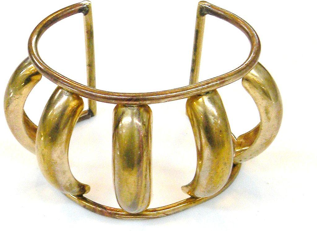 Super Brass Tone Dimensional Modernist Cuff Bracelet