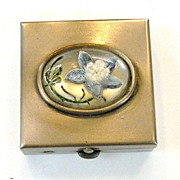 1980s Pill Box with Blue Floral Scene