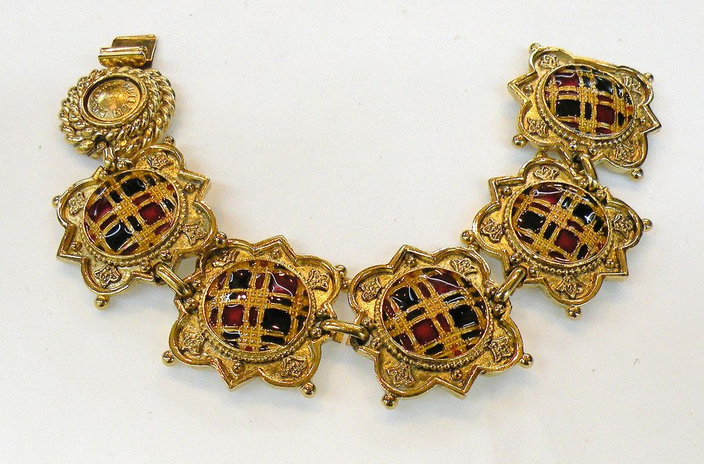 BUTLER WILSON Red Black Enameled Plaid Heraldic Bracelet