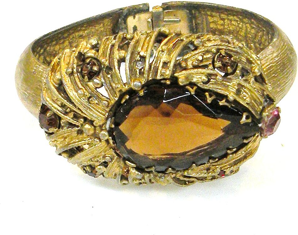 Giant Amber Pearl Faceted Rhinestone Hinged Clamper Bracelet