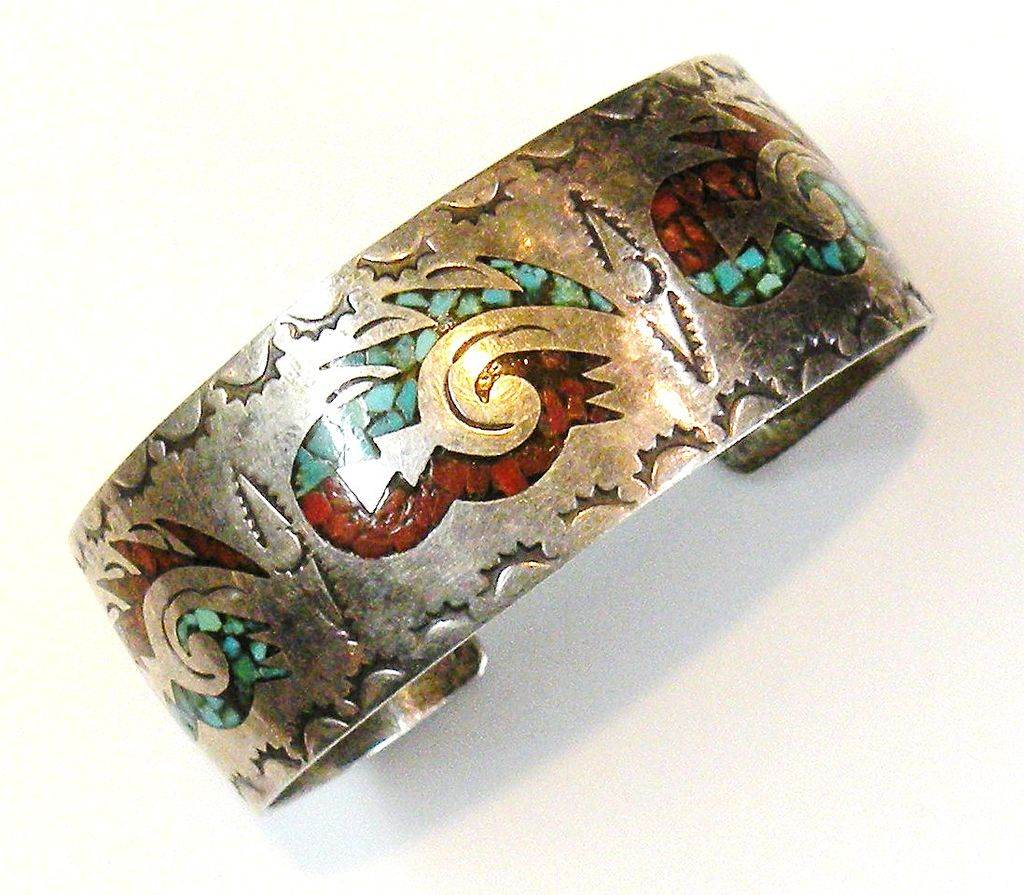 Silver Bracelet with Turq and Coral Inlay Design 1970s Navajo