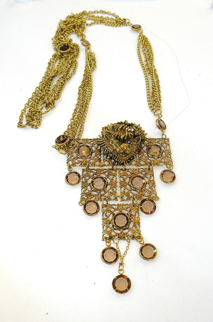 Multi Chain Pendant Necklace with Strange Figural Creature Head