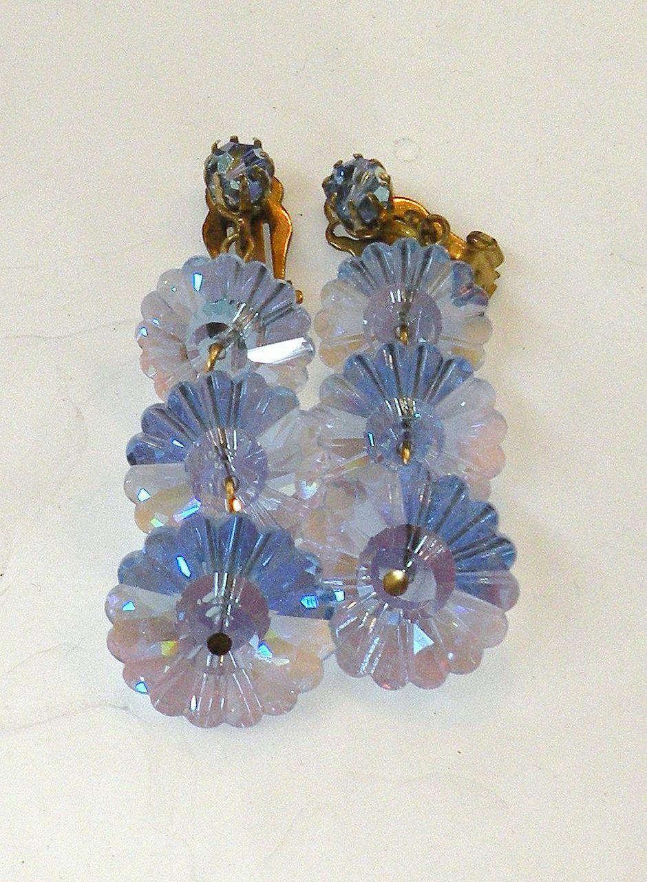 Blue Iris Margarita Rhinestone Wired Triple Drop Earrings