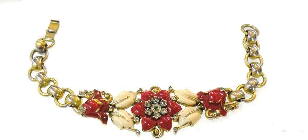 ALFRED PHILLIPE 1939 Red and Cream Enameled Bracelet for Trifari