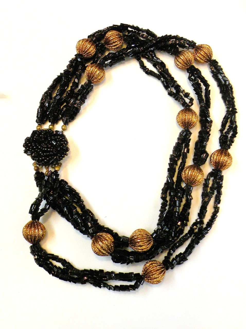 Black and Copper Colored Multi Strand Beaded Torsade Necklace