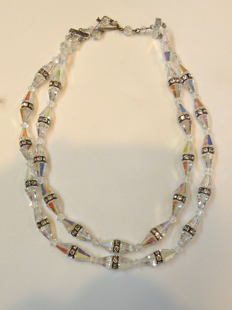 Faceted Conical Crystal and Rhinestone Rondelle Double Strand Necklace