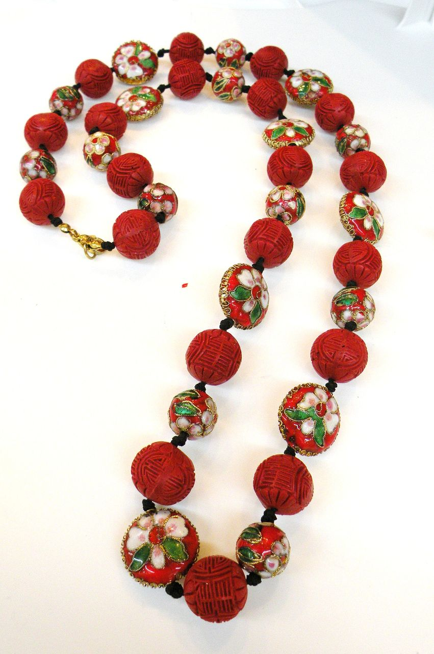Red Cloisonne Ball and Bead Necklace with Cinnabar Colored Carved Beads