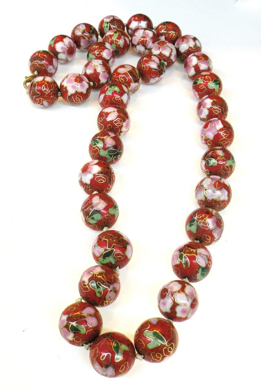 Chinese Export Vintage Red Cloisonne Beaded Necklace