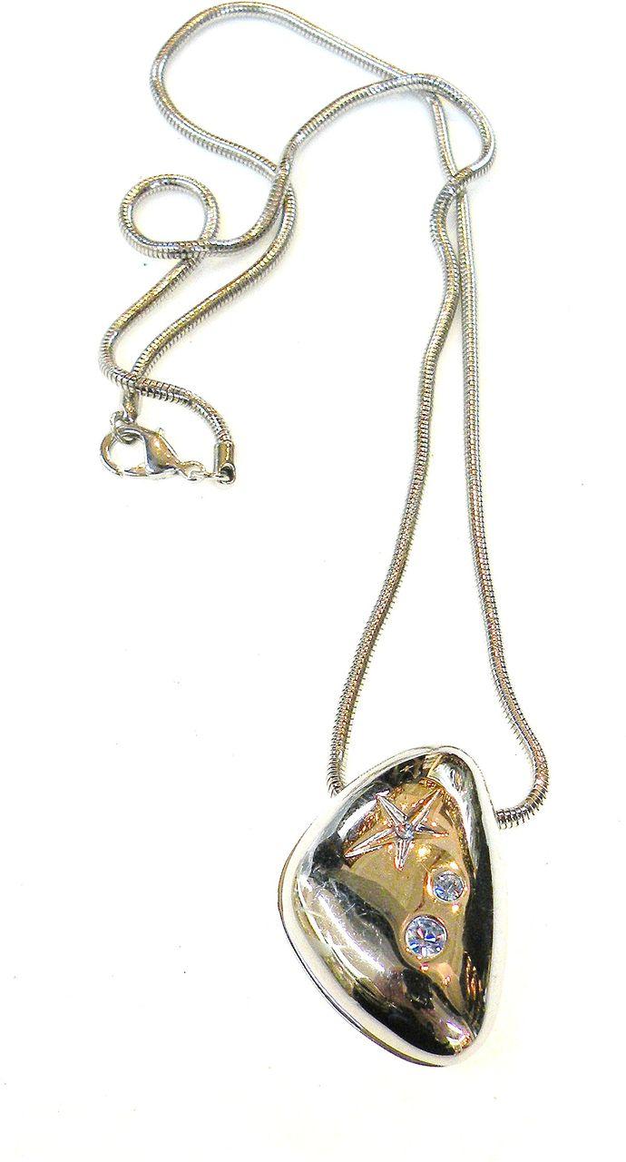 THIERRY MUGLER Solid Triangular Peanut Pendant Necklace with Rhinestones