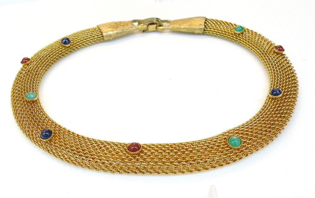 Mesh Rope Collar de Chein with Multi Color Cabochons