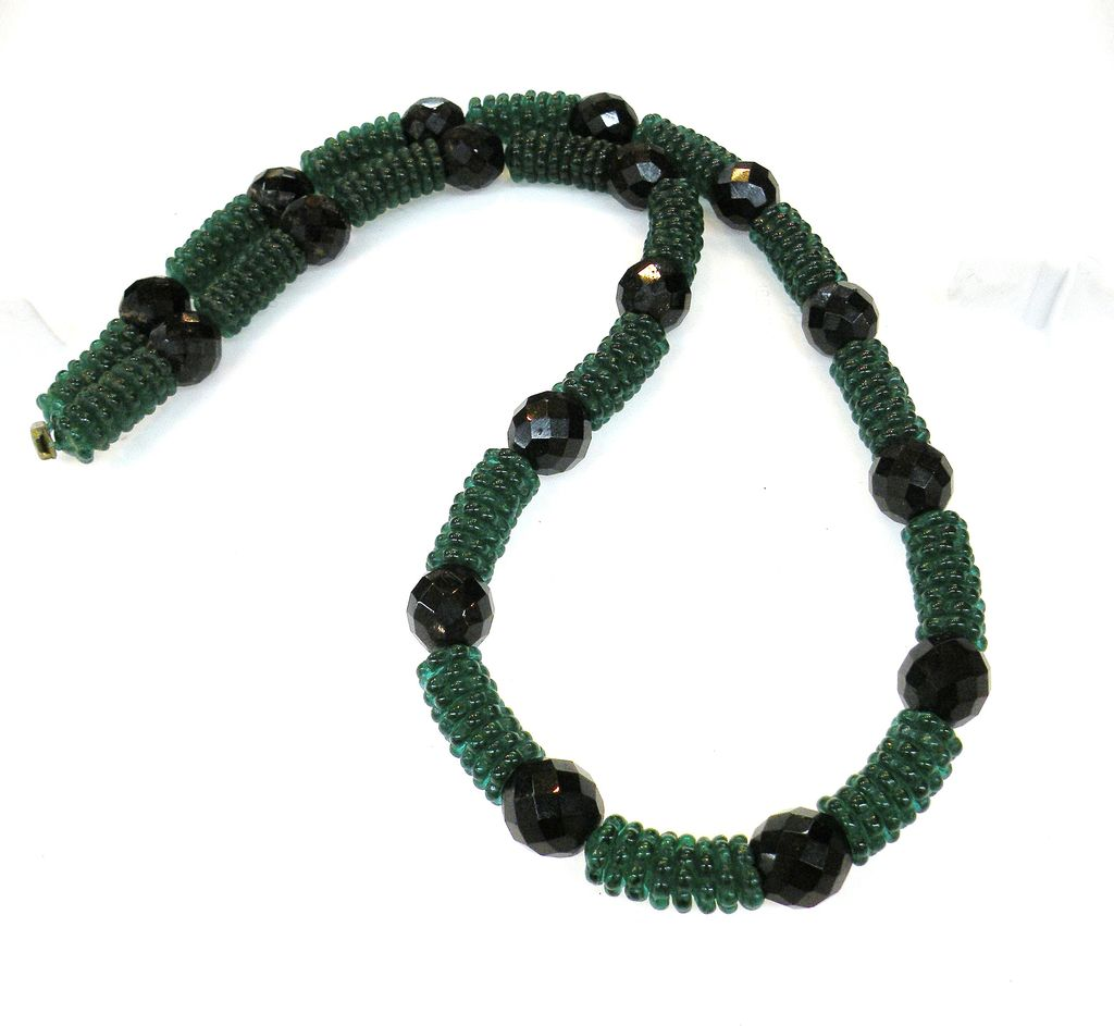Deep Green and Black Glass Bead Necklace