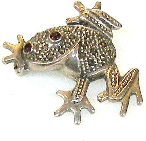 925 Marcasite Sterling with Red Eyes Fertility Frog Brooch