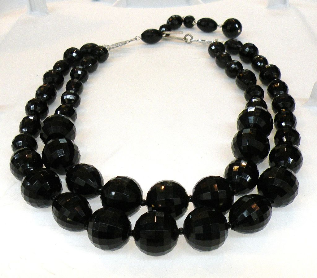 JAPAN Double Strand Black Faceted Bead Mad Men Necklace
