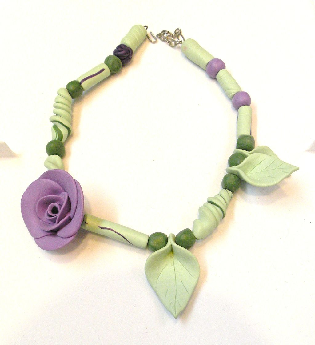 Super Fun Asymmetric Multi Color Floral Clay Necklace