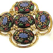 SARAH COVENTRY Mogul Colored Painted Brooch and Earring Set