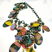 1970s Painted Copper Warhol Era Funky Fun Disc and Ball Chain Necklace