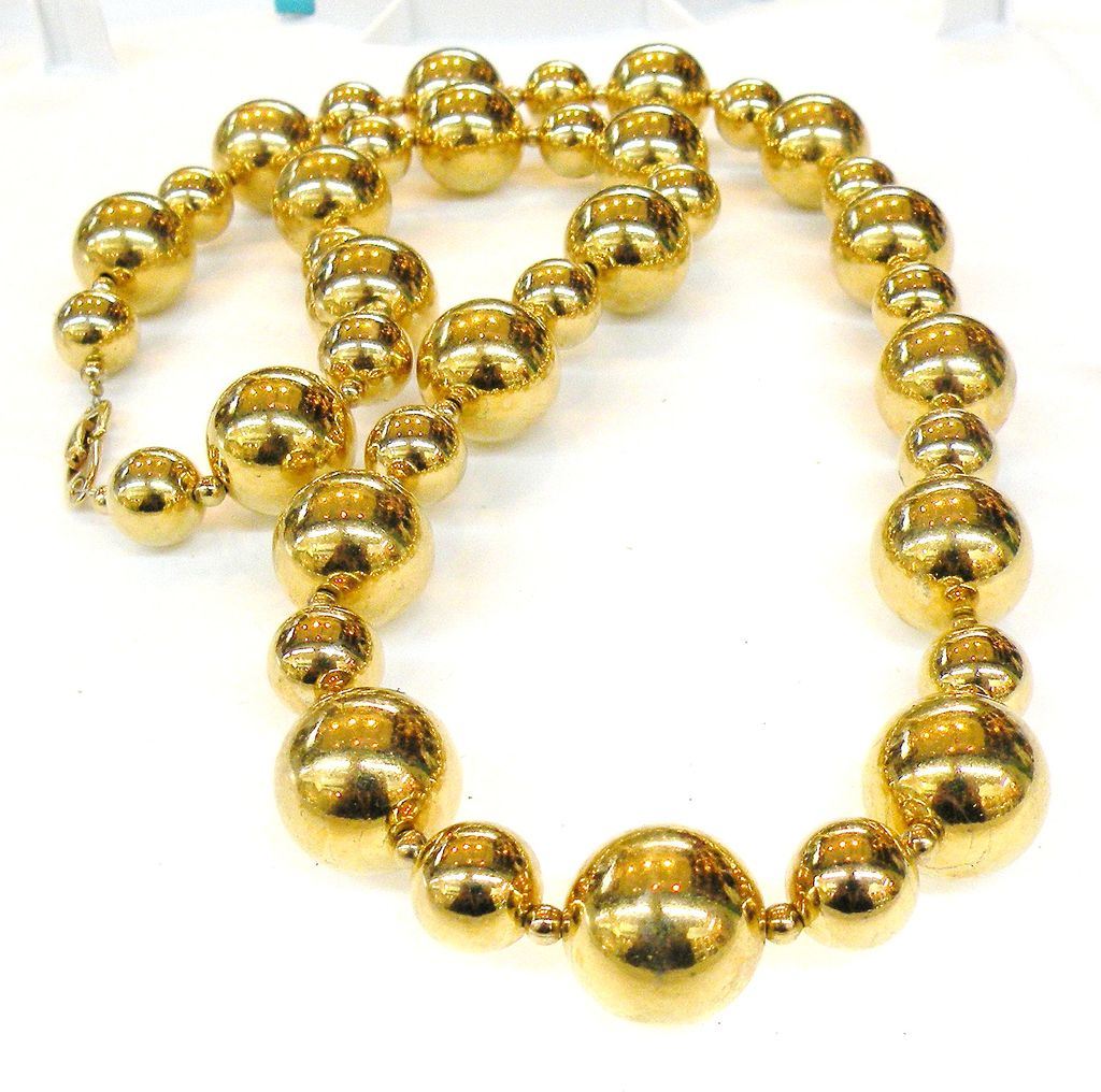 NAPIER Big and Bigger Bold Ball Gold Tone Metal Long Necklace