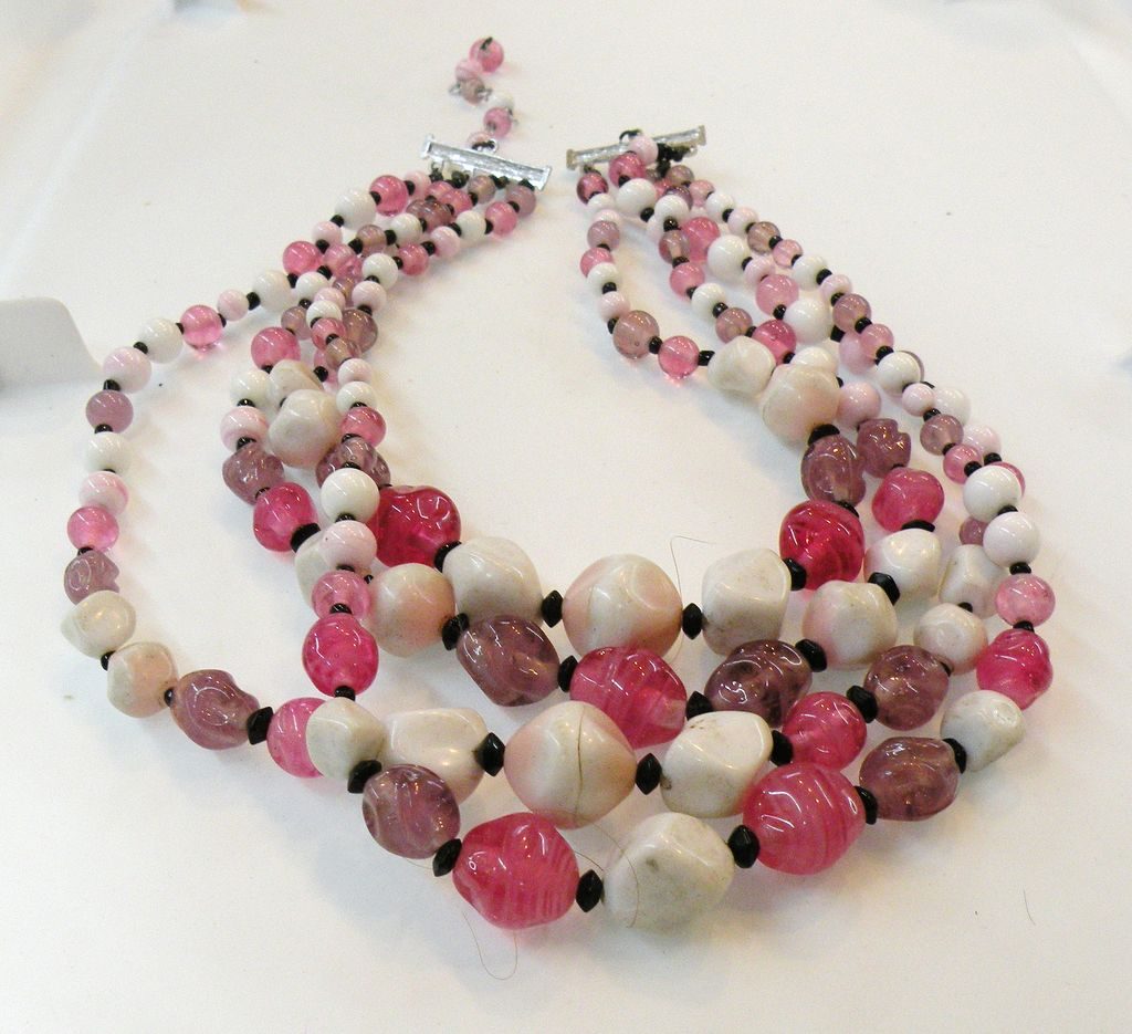 Four Strand Mostly Pink and Purple Mad Men Art Glass Necklace