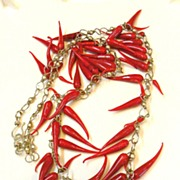 1970s Glass Chili Pepper Long Funky Necklace