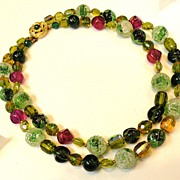 Mostly Green with Raspberry Art Glass Double Strand Necklace