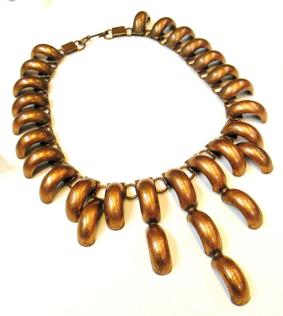 Copper Modernist Tire Track Bib Necklace