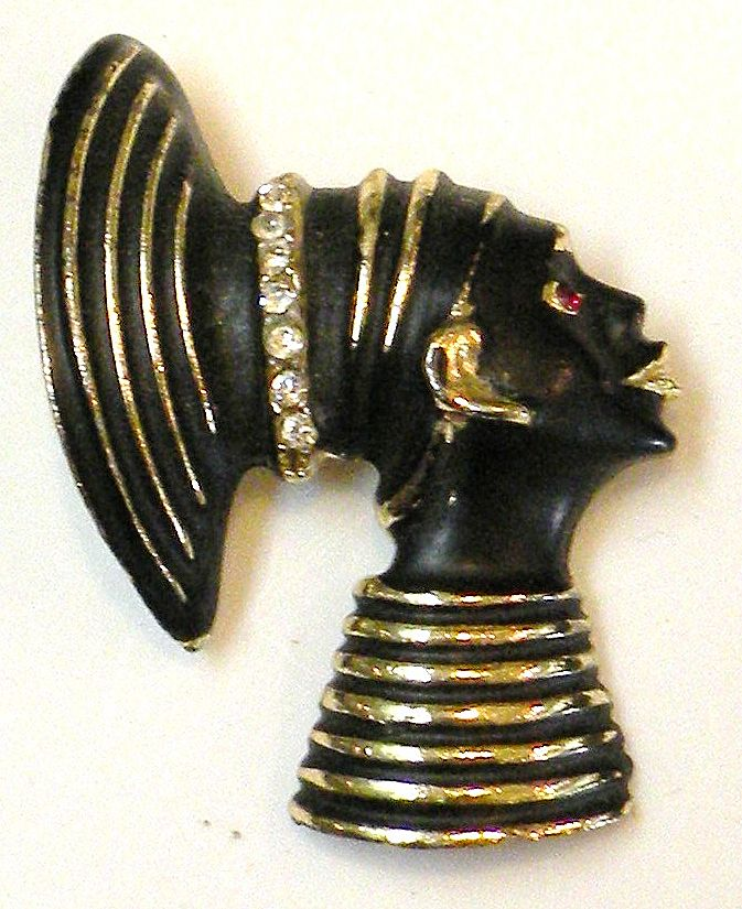 Blackamoor Lady Face Brooch with Red Rhinestone Eye