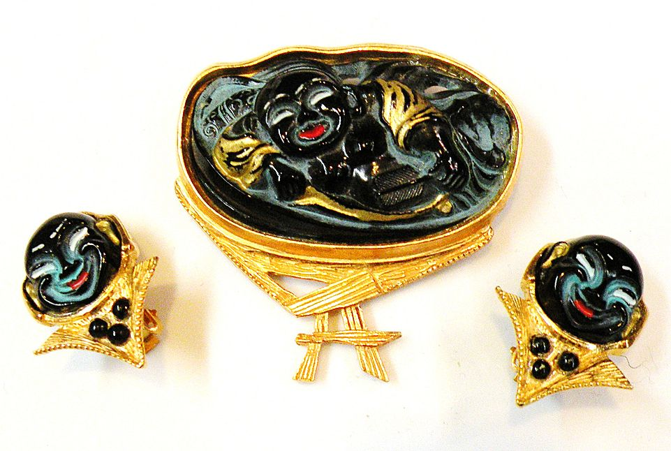 1960s-70s Black Laughing Buddha Brooch and Earrings Set