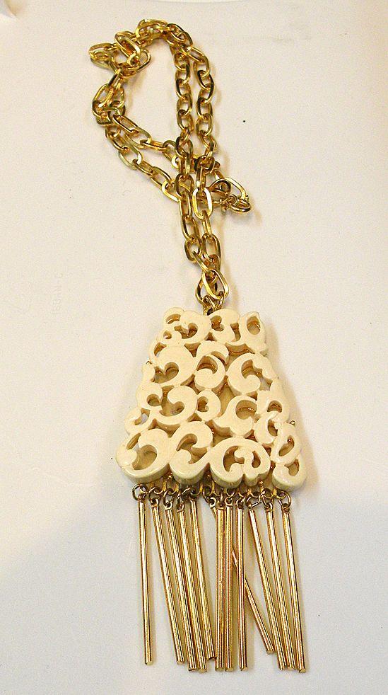 KRAMER Creamy Carved Lucite Fringed Pendant Necklace
