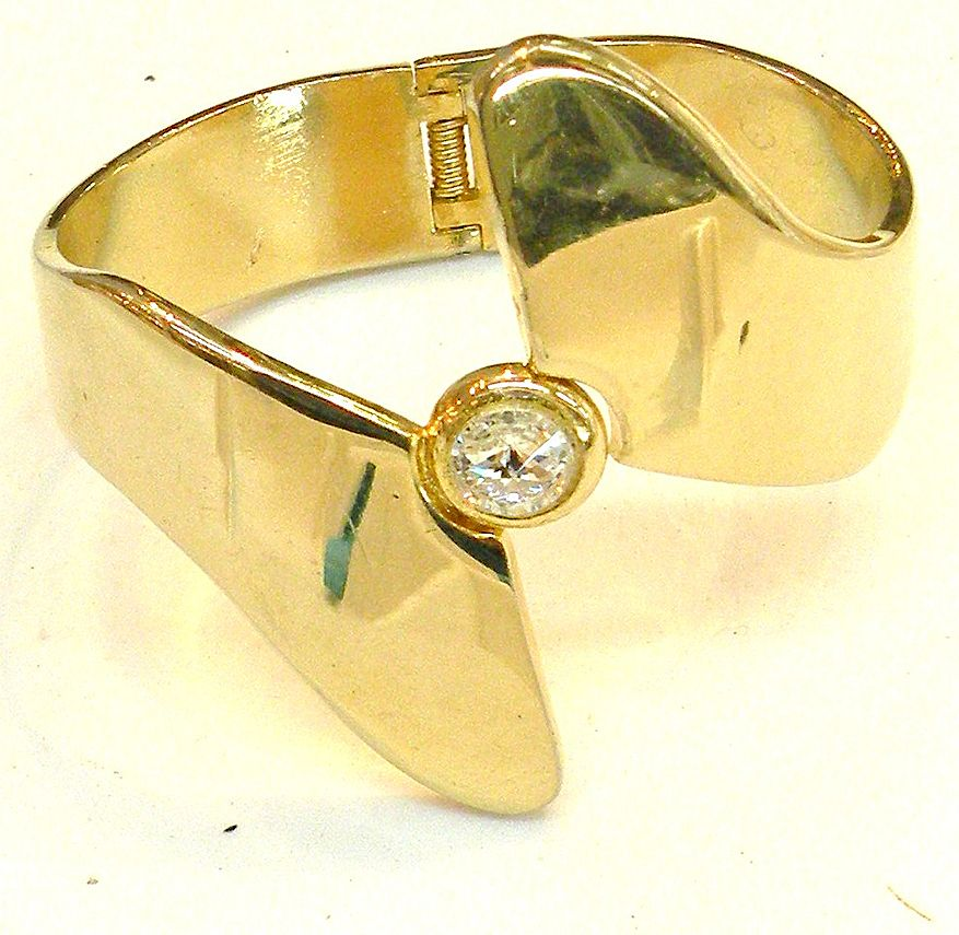 Modernist Bypass Hinged Bangle Bracelet with Rhinestone Center