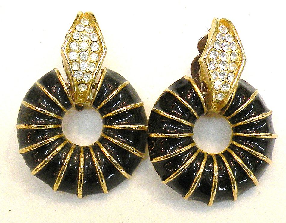 Black Enamel Rhinestone Hoop Drop Earrings