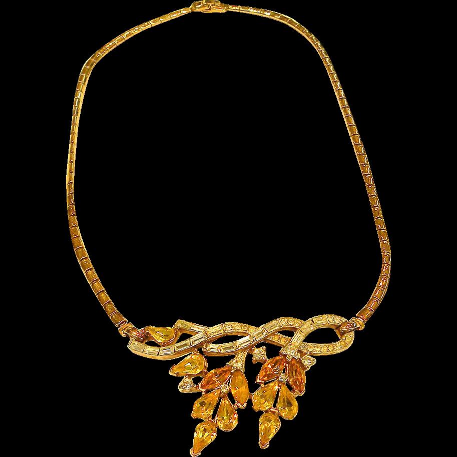 CROWN TRIFARI Lemon Yellow and Clear Rhinestone Drop Leaf Necklace