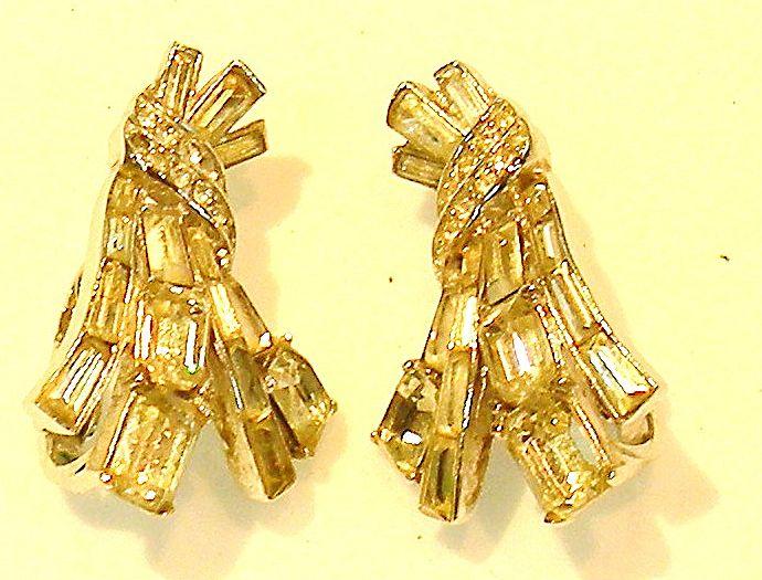 CROWN TRIFARI Baguette and Square Rhinestone Earrings