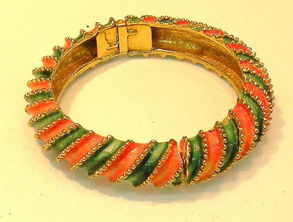 K.J.L. Early Signature Barber Shop Stripe Enameled Bracelet