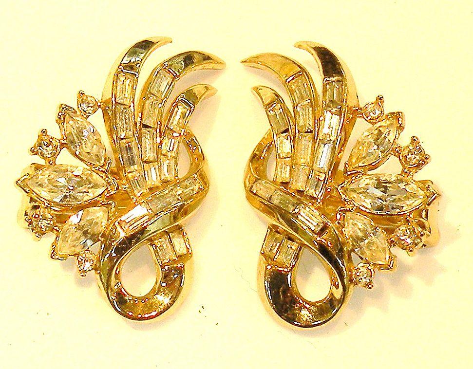 CROWN TRIFARI Baguette and Navette Rhinestone Earrings