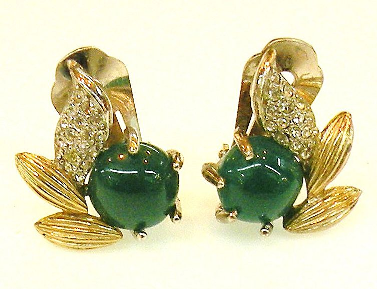 MARVELLA Perfectly Green Cabochon and Pave Leaf Earrings