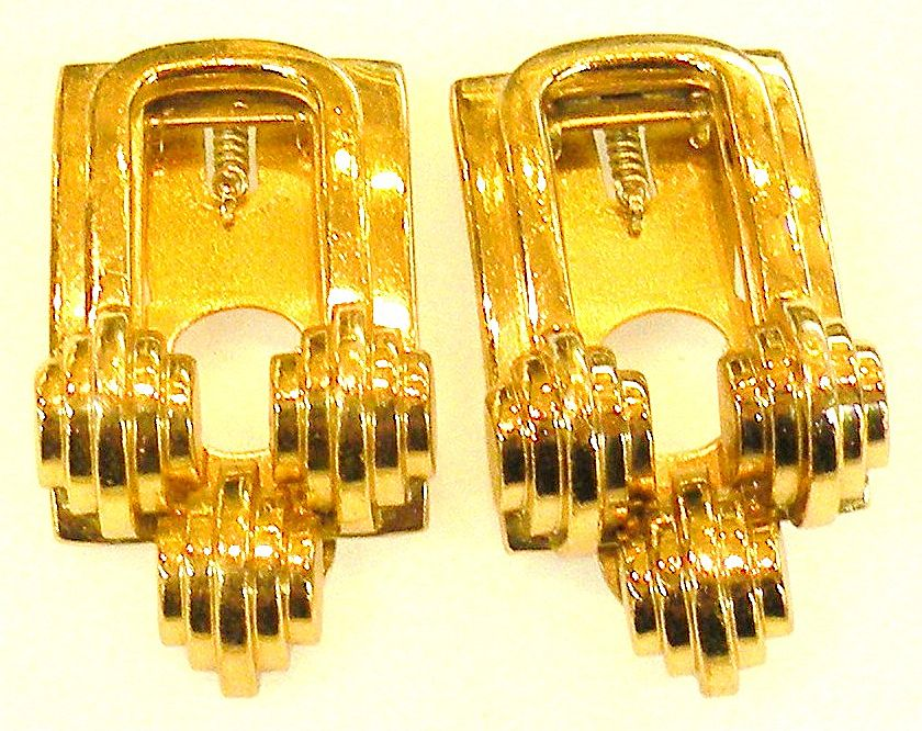 MONET Modernist Sculptural Dress Clip Brooch Set