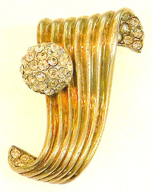 REJA STERLING Asymmetric Clip Brooch with Rhinestone Ball and Trim