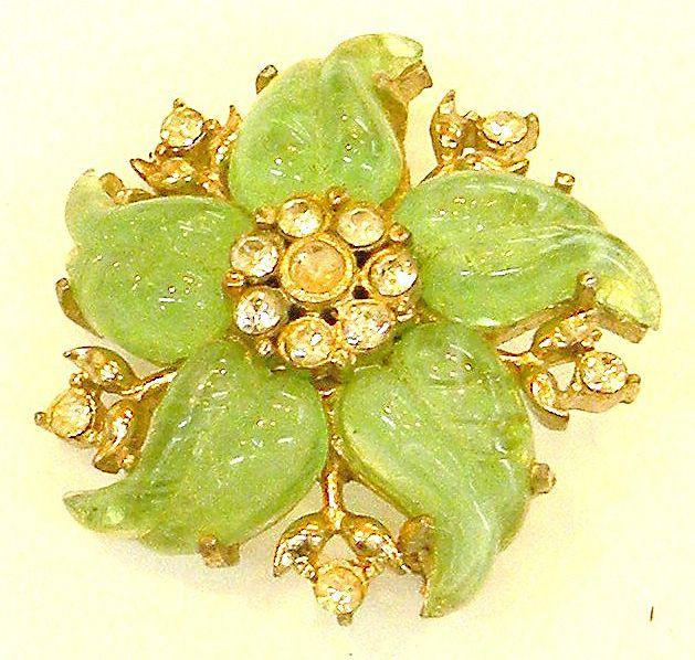 CORO Green Molded Lucite Swirling Flower Brooch
