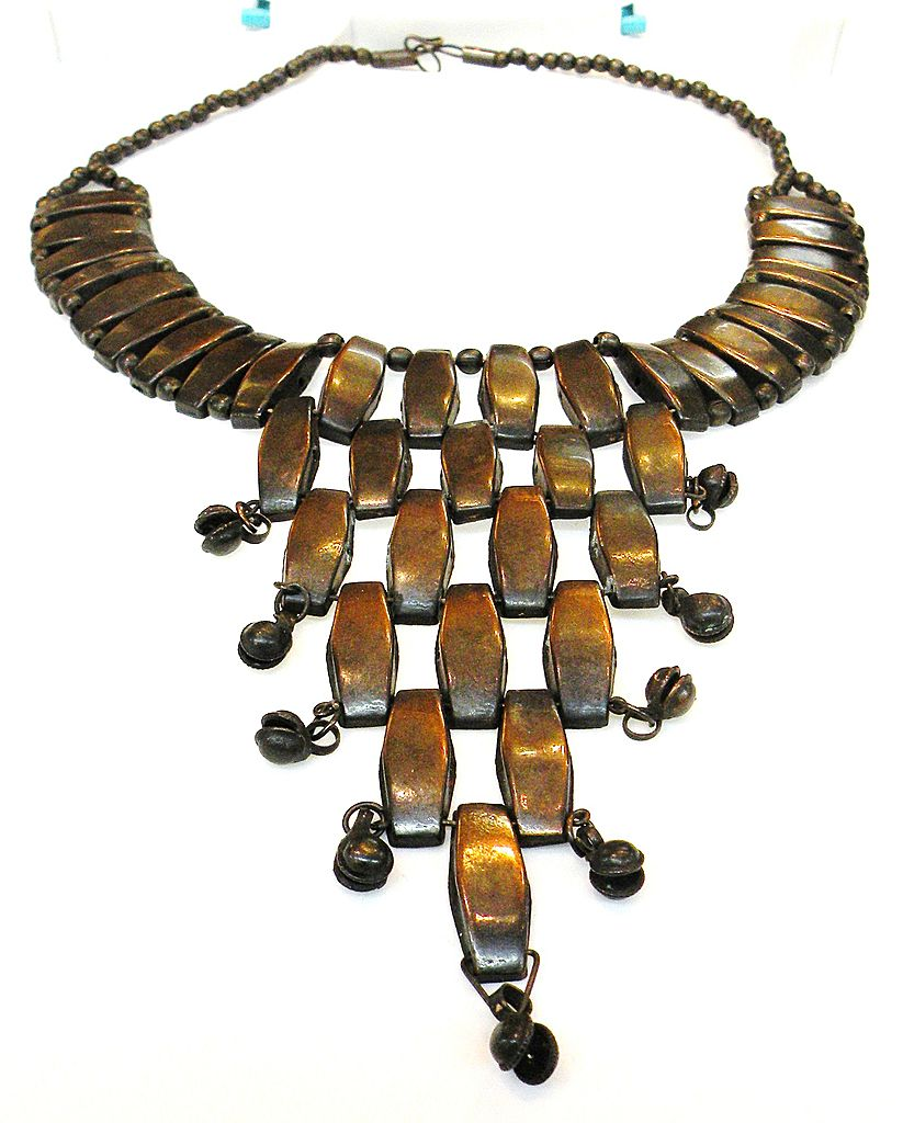 Vintage Darkened Copper Color Bib Necklace
