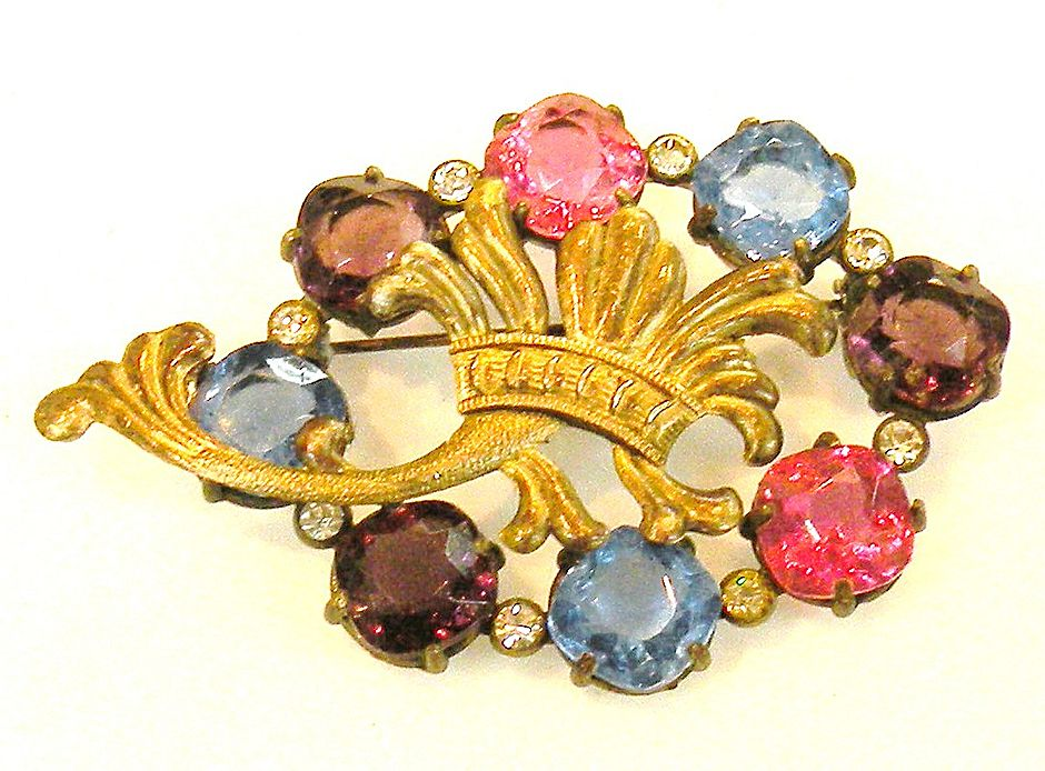 Open Back Multi Color Rhinestone Brooch with Fleur De Lys Design