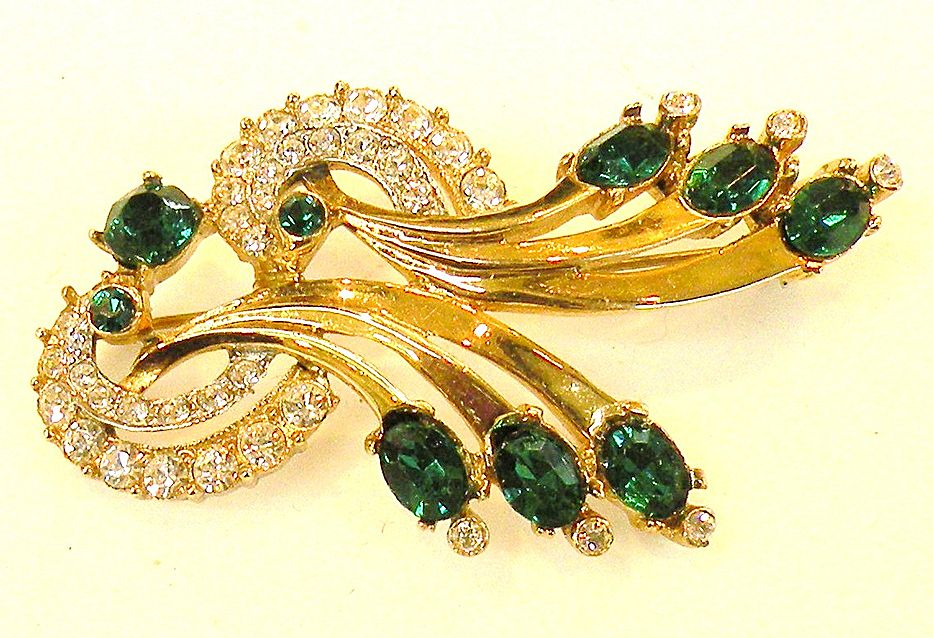 Green and Clear Rhinestone Lovely Lady Brooch