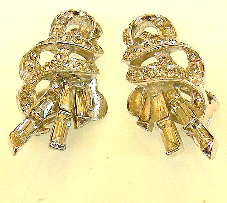 BOUCHER Phyrigian Cap Marked Baguette and Round Rhinestone Earrings