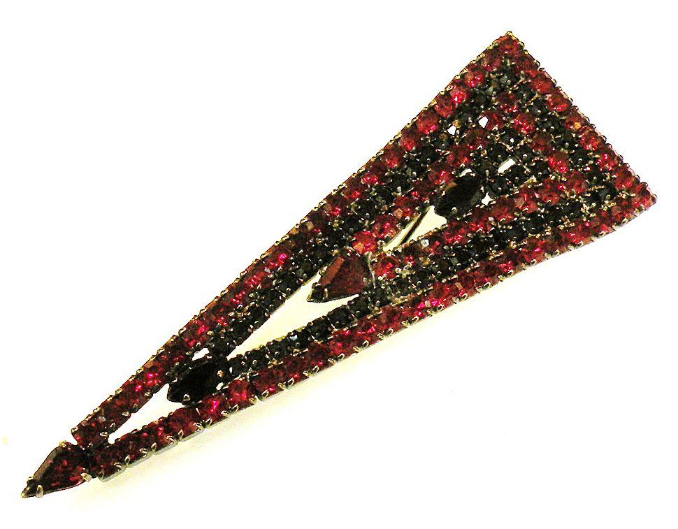 Deep Red and Black Rhinestone Triangular Brooch