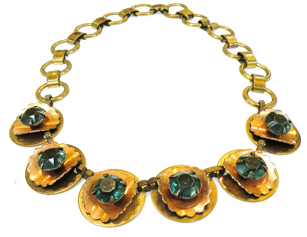 1930s Mixed Metal and Green Rhinestone Floral Design and Bookchain Necklace